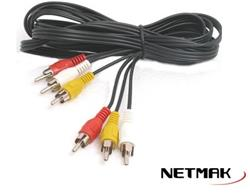 CABLE 3 RCA A 3 RCA NM-C33 Netmak  3Mts