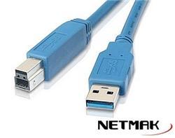 Cable USB 3.0 A/B 1.8M Azul Nm-C42 Para Impresoras