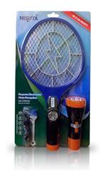 Raqueta mata mosquitos (NSRAEMIL) mediante descarga electrica, con linterna