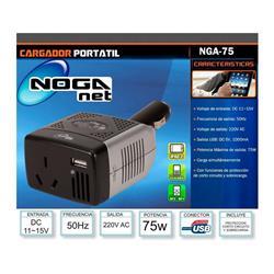 Adaptador y/o Invertidor De 12V A 220V con salida USB 75W NGA-75