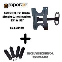 Soporte TV Brazo Simple C/Inclinacion E-soporter 23 A 55 Pulgadas ES-LCB140
