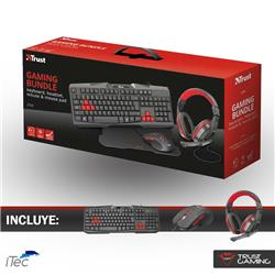 Kit Combo Auricular Teclado Mouse Y Pad Trust Ziva Gamer
