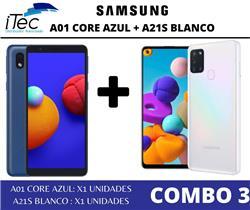 COMBO SAMSUNG A01 CORE AZUL + SAMSUNG A21S BLANCO