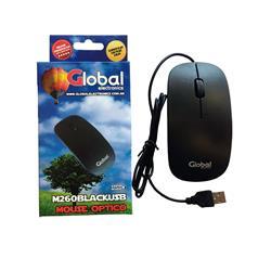 Mouse Optico Global Con Rueda Scroll Slim Con Cable Usb Negro